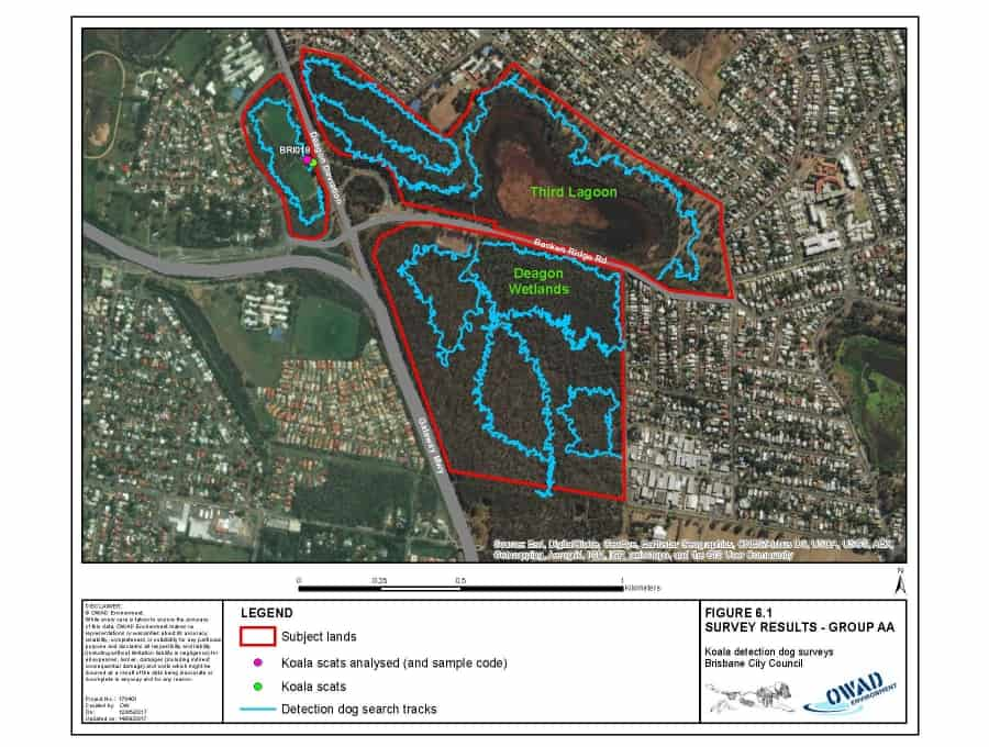 Detection Dog tracking on map of 101ha site assessed in one day.